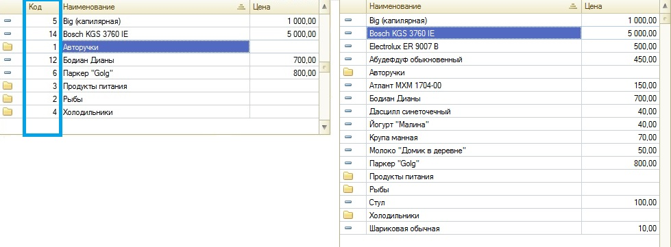 Пример: Номенклатура - сравнение при выборе поля Код